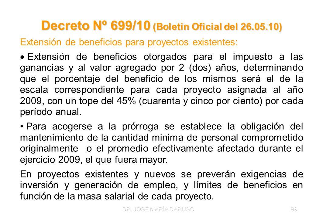 DR. JOSÉ MARÍA CARUSO99 Decreto Nº 699/10 (Boletín Oficial del 26.05.10) Extensión de beneficios para proyectos existentes: Extensión de beneficios ot