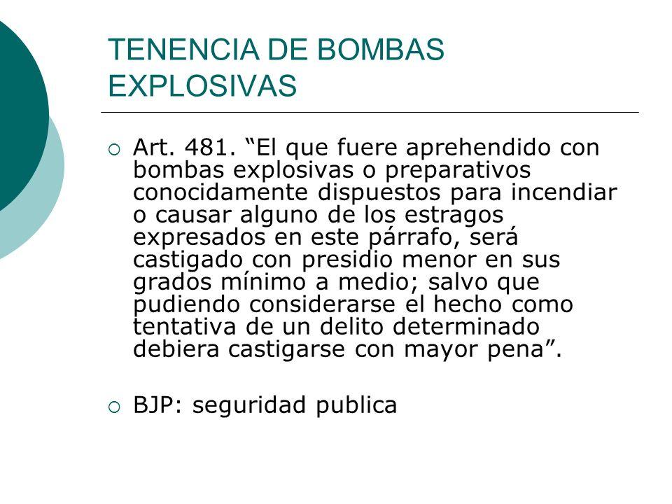 TENENCIA DE BOMBAS EXPLOSIVAS Art. 481. El que fuere aprehendido con bombas explosivas o preparativos conocidamente dispuestos para incendiar o causar