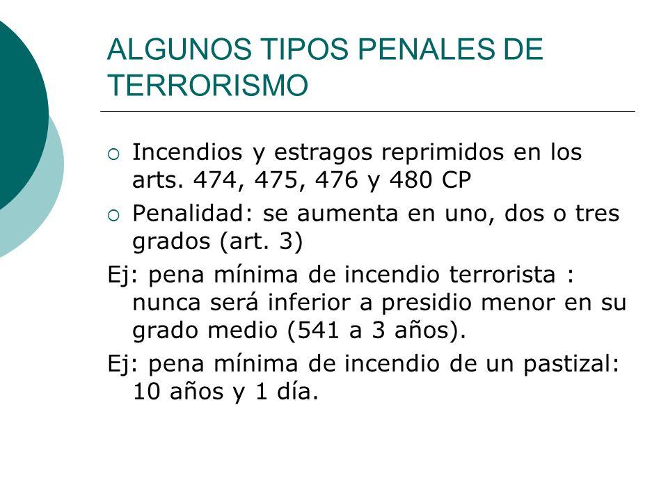 ALGUNOS TIPOS PENALES DE TERRORISMO Incendios y estragos reprimidos en los arts. 474, 475, 476 y 480 CP Penalidad: se aumenta en uno, dos o tres grado
