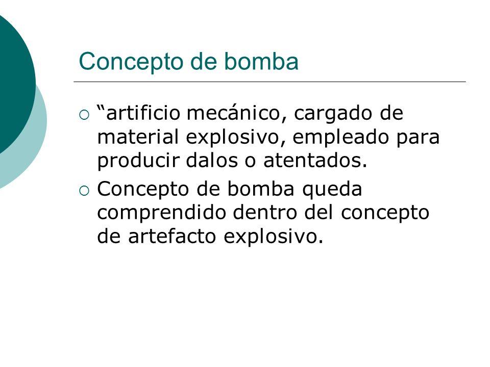Concepto de bomba artificio mecánico, cargado de material explosivo, empleado para producir dalos o atentados. Concepto de bomba queda comprendido den