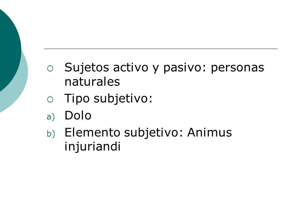 Sujetos activo y pasivo: personas naturales Tipo subjetivo: a) Dolo b) Elemento subjetivo: Animus injuriandi