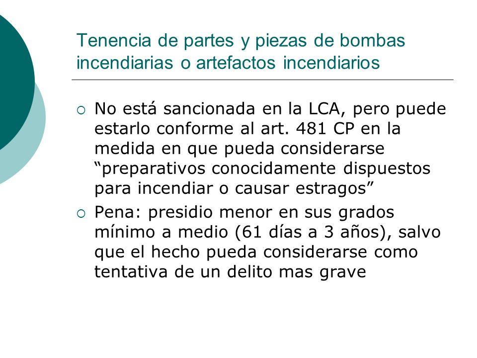 Tenencia de partes y piezas de bombas incendiarias o artefactos incendiarios No está sancionada en la LCA, pero puede estarlo conforme al art. 481 CP