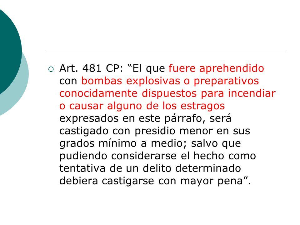Art. 481 CP: El que fuere aprehendido con bombas explosivas o preparativos conocidamente dispuestos para incendiar o causar alguno de los estragos exp