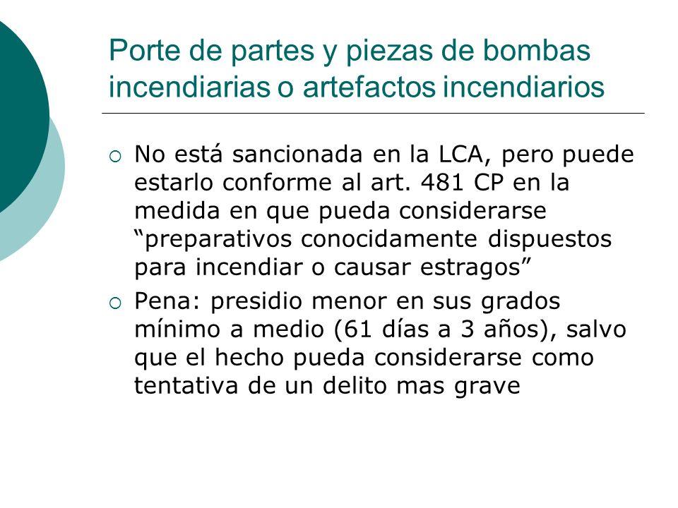 Porte de partes y piezas de bombas incendiarias o artefactos incendiarios No está sancionada en la LCA, pero puede estarlo conforme al art. 481 CP en