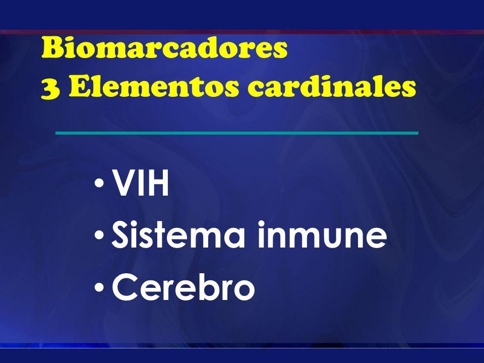 Biomarcadores 3 Elementos cardinales VIH Sistema inmune Cerebro