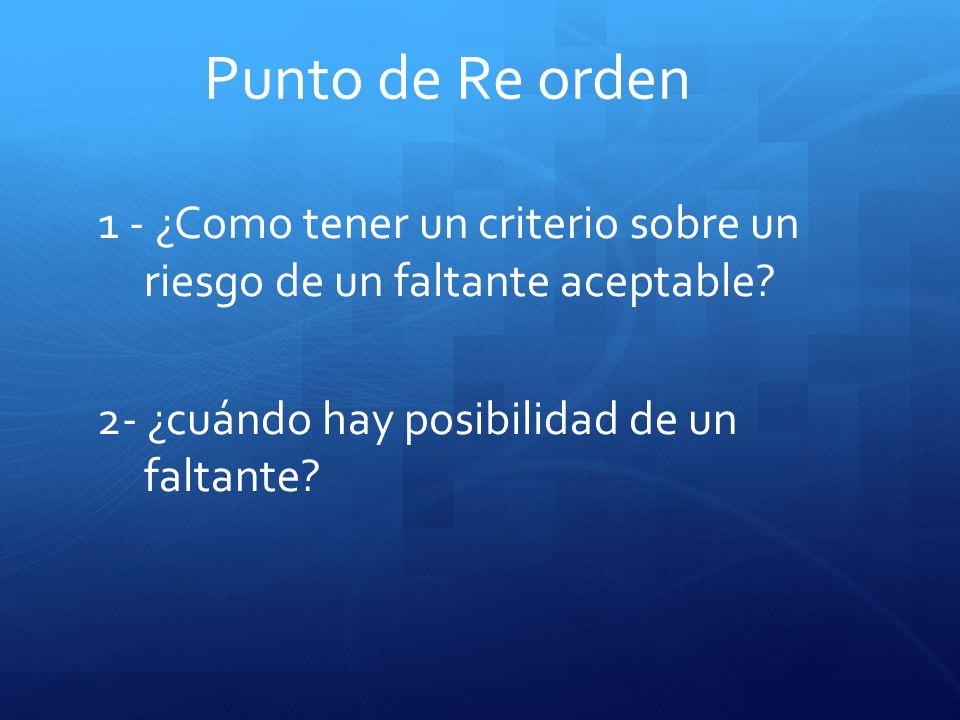 Punto de Re orden 1 - ¿Como tener un criterio sobre un riesgo de un faltante aceptable? 2- ¿cuándo hay posibilidad de un faltante?