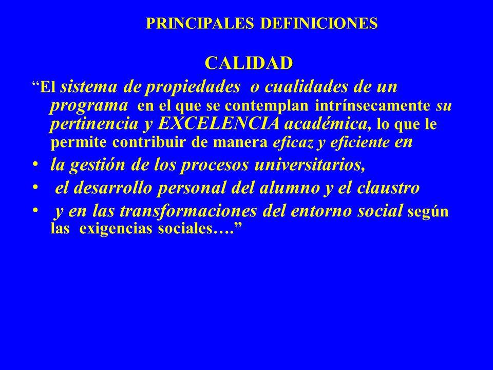 PRINCIPALES DEFINICIONES CALIDAD El sistema de propiedades o cualidades de un programa en el que se contemplan intrínsecamente su pertinencia y EXCELE