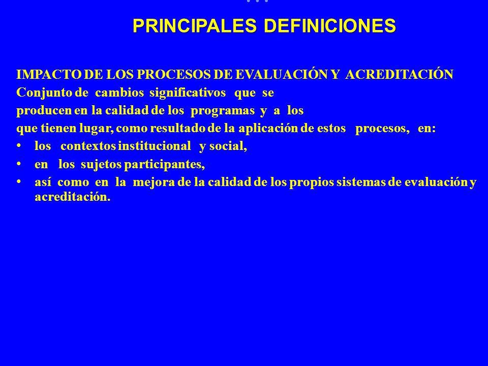 … IMPACTO DE LOS PROCESOS DE EVALUACIÓN Y ACREDITACIÓN Conjunto de cambios significativos que se producen en la calidad de los programas y a los que t