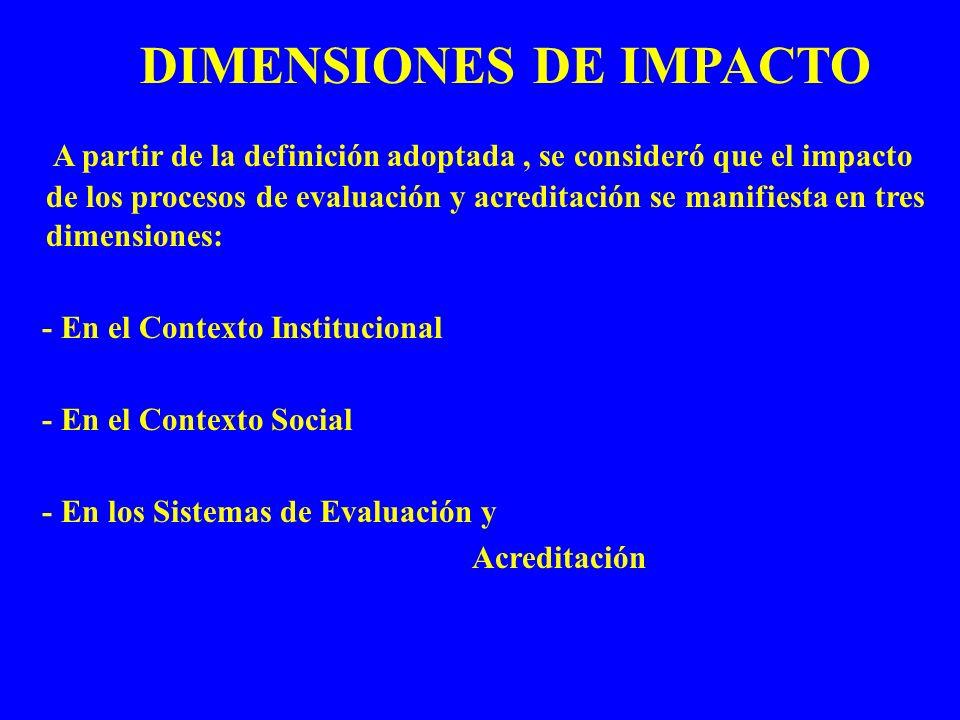 DIMENSIONES DE IMPACTO A partir de la definición adoptada, se consideró que el impacto de los procesos de evaluación y acreditación se manifiesta en t