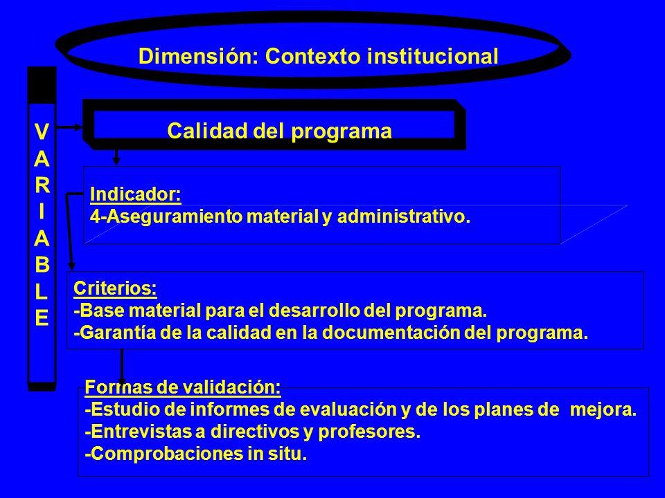 Dimensión: Contexto institucional VARIABLEVARIABLE Calidad del programa Indicador: 4-Aseguramiento material y administrativo. Criterios: -Base materia