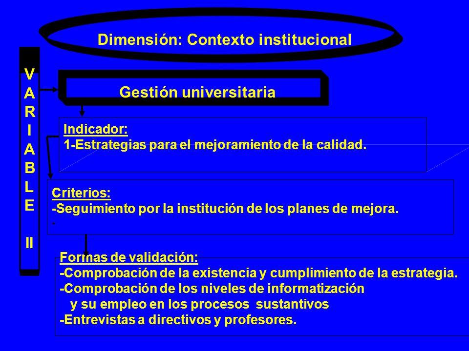 Dimensión: Contexto institucional V A R I A B L E II Gestión universitaria Indicador: 1-Estrategias para el mejoramiento de la calidad. Criterios: -Se