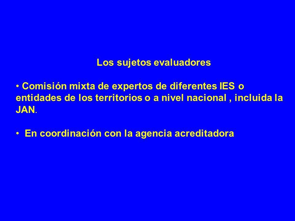 Los sujetos evaluadores Comisión mixta de expertos de diferentes IES o entidades de los territorios o a nivel nacional, incluida la JAN. En coordinaci