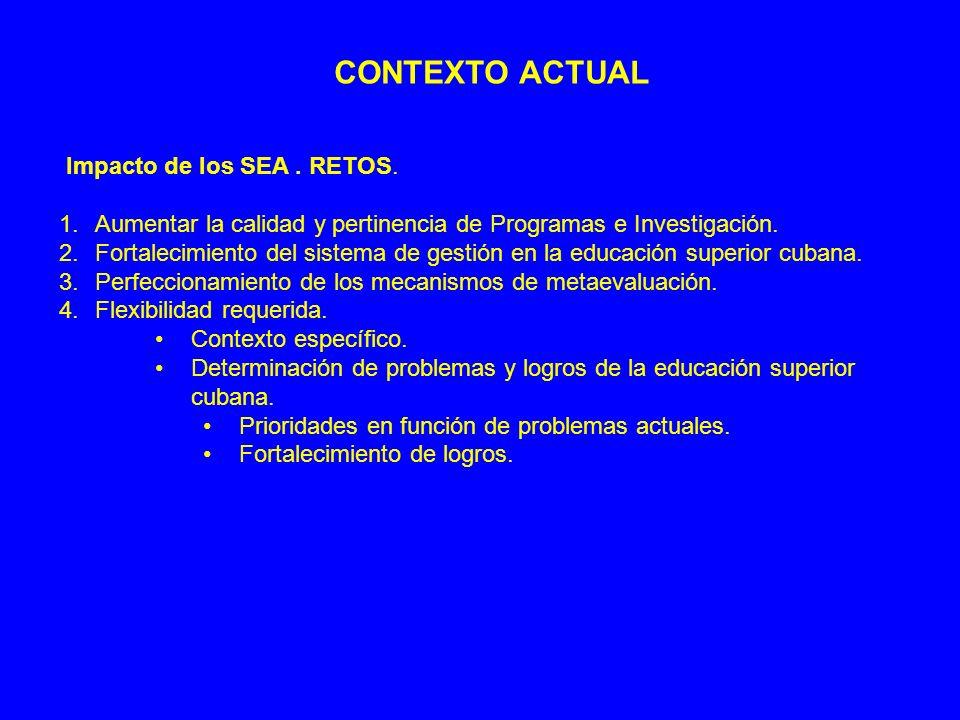 CONTEXTO ACTUAL Impacto de los SEA. RETOS. 1.Aumentar la calidad y pertinencia de Programas e Investigación. 2.Fortalecimiento del sistema de gestión