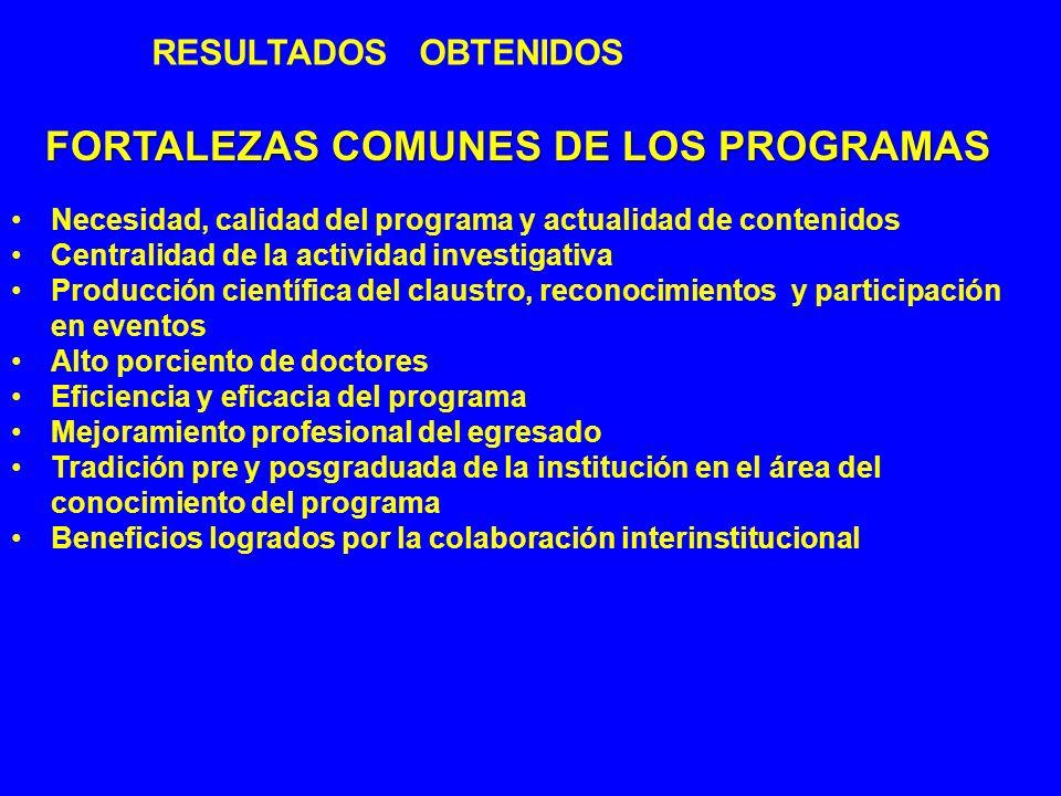 RESULTADOS OBTENIDOS FORTALEZAS COMUNES DE LOS PROGRAMAS Necesidad, calidad del programa y actualidad de contenidos Centralidad de la actividad invest