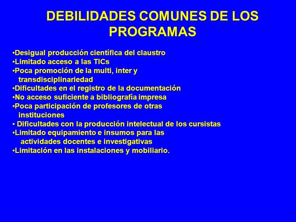 DEBILIDADES COMUNES DE LOS PROGRAMAS Desigual producción científica del claustroDesigual producción científica del claustro Limitado acceso a las TICs