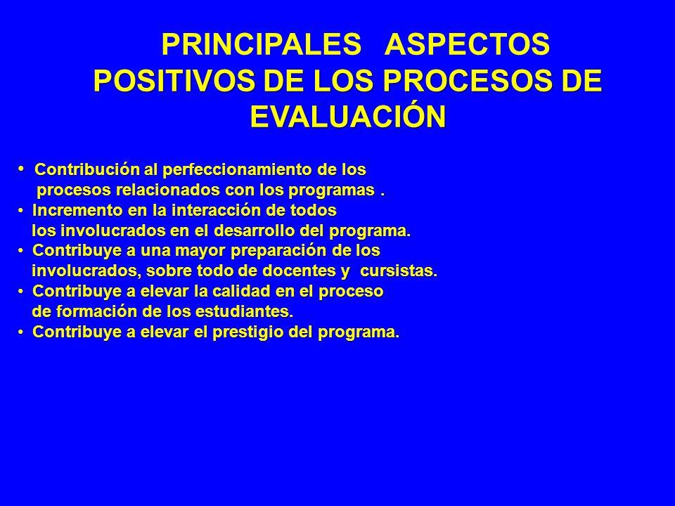 PRINCIPALES RESULTADOS NEGATIVOS DE LOS PROCESOS DE EVALUACIÓN Carencia de una estimulación adecuada a los Carencia de una estimulación adecuada a los programas acreditados.