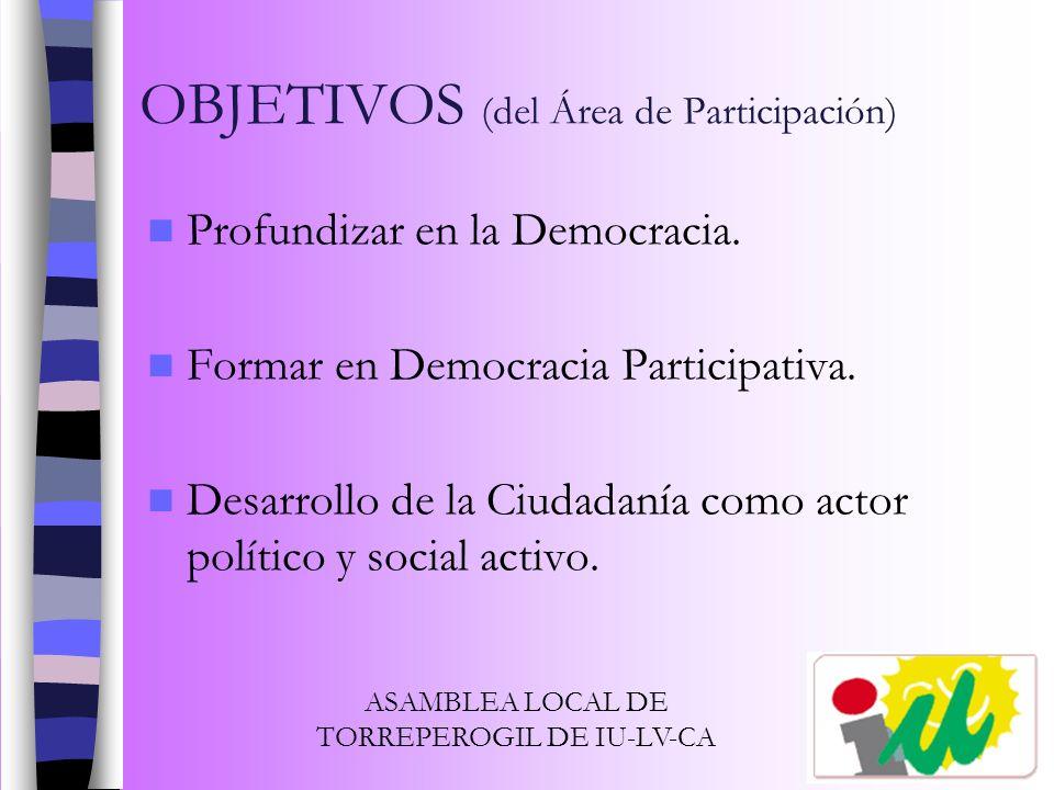 OBJETIVOS (del Área de Participación) Profundizar en la Democracia. Formar en Democracia Participativa. Desarrollo de la Ciudadanía como actor polític
