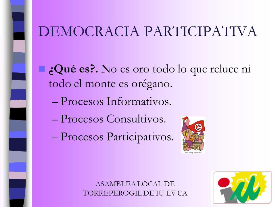 DEMOCRACIA PARTICIPATIVA ¿Qué es?. No es oro todo lo que reluce ni todo el monte es orégano. –Procesos Informativos. –Procesos Consultivos. –Procesos