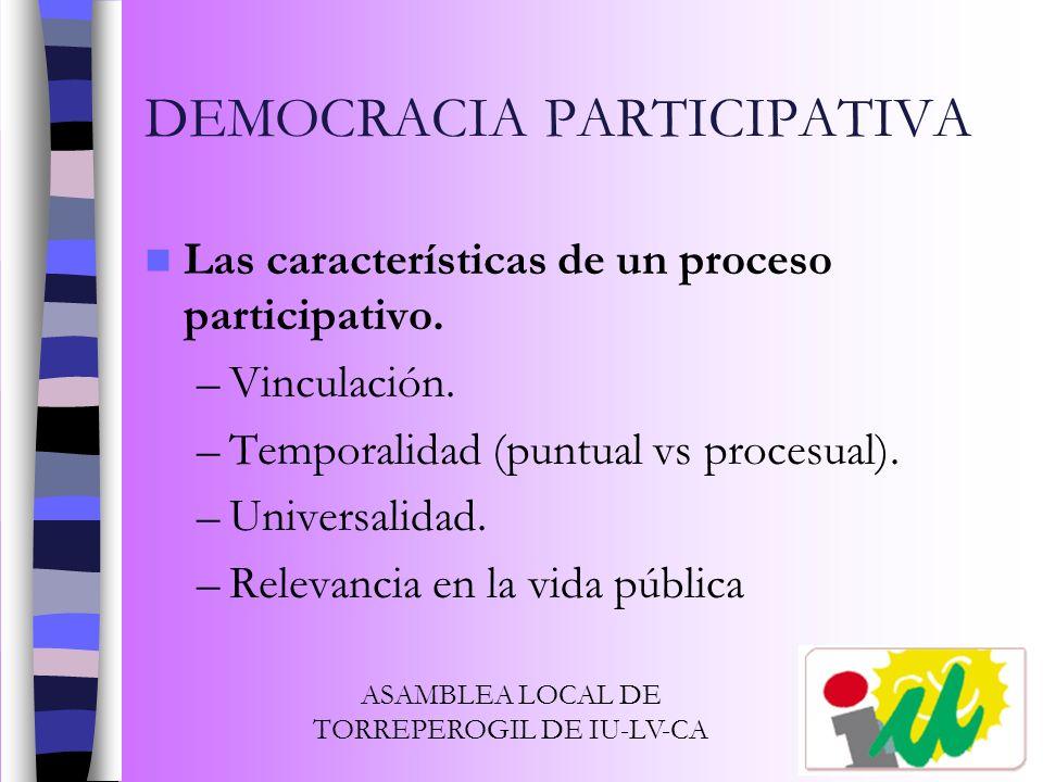 DEMOCRACIA PARTICIPATIVA Las características de un proceso participativo. –Vinculación. –Temporalidad (puntual vs procesual). –Universalidad. –Relevan