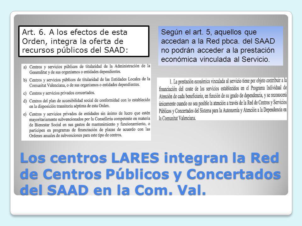 Los centros LARES integran la Red de Centros Públicos y Concertados del SAAD en la Com. Val. Art. 6. A los efectos de esta Orden, integra la oferta de