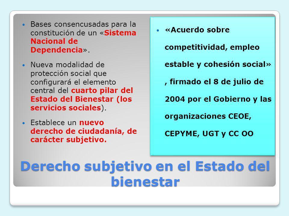 Derecho subjetivo en el Estado del bienestar Bases consencusadas para la constitución de un «Sistema Nacional de Dependencia». Nueva modalidad de prot