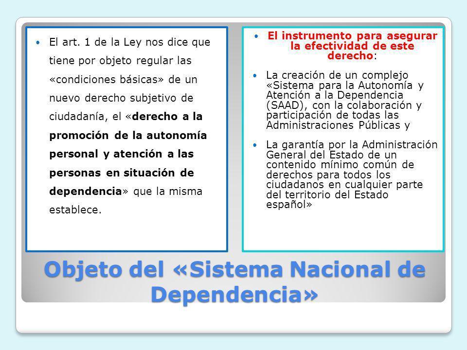 Objeto del «Sistema Nacional de Dependencia» El art. 1 de la Ley nos dice que tiene por objeto regular las «condiciones básicas» de un nuevo derecho s