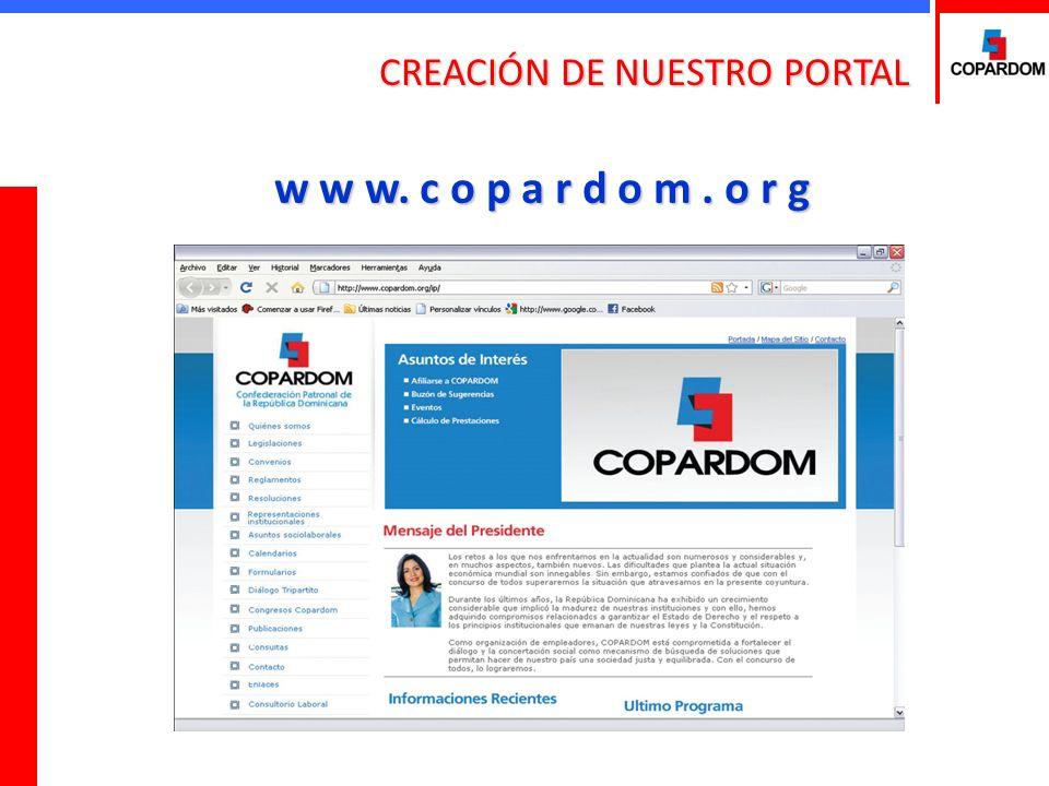 CREACIÓN DE NUESTRO PORTAL w w w. c o p a r d o m. o r g