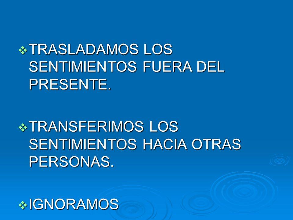TRASLADAMOS LOS SENTIMIENTOS FUERA DEL PRESENTE. TRASLADAMOS LOS SENTIMIENTOS FUERA DEL PRESENTE. TRANSFERIMOS LOS SENTIMIENTOS HACIA OTRAS PERSONAS.