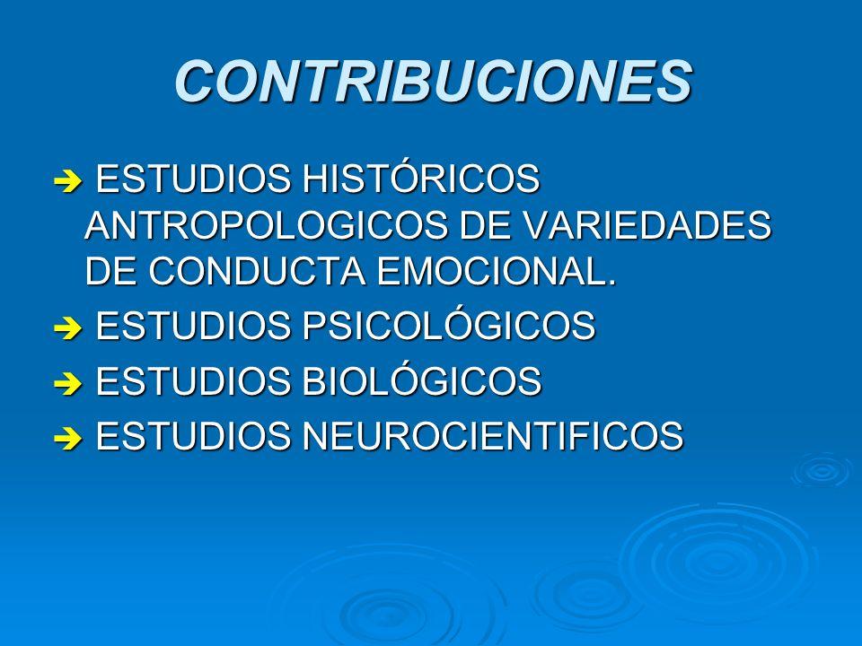 CONTRIBUCIONES ESTUDIOS HISTÓRICOS ANTROPOLOGICOS DE VARIEDADES DE CONDUCTA EMOCIONAL. ESTUDIOS HISTÓRICOS ANTROPOLOGICOS DE VARIEDADES DE CONDUCTA EM
