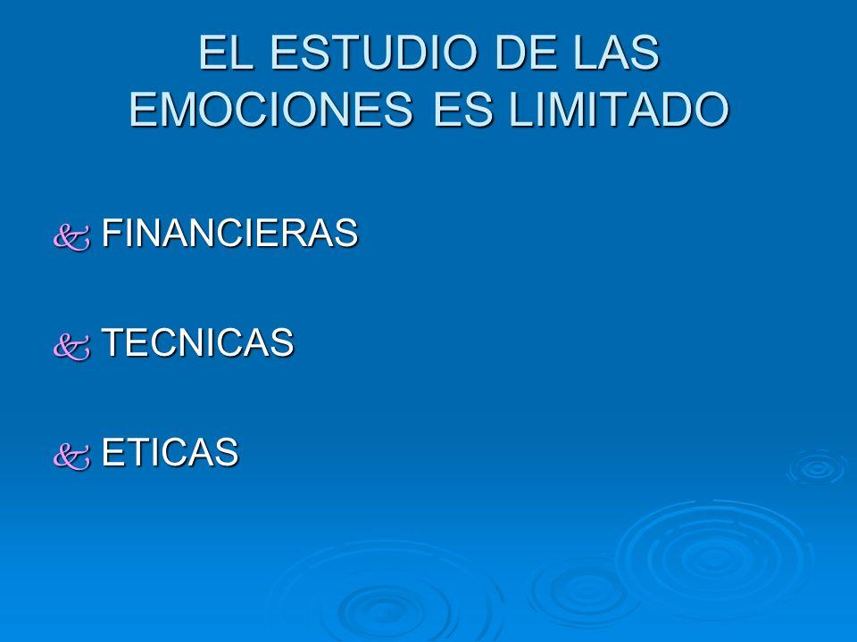 EL ESTUDIO DE LAS EMOCIONES ES LIMITADO FINANCIERAS FINANCIERAS TECNICAS TECNICAS ETICAS ETICAS