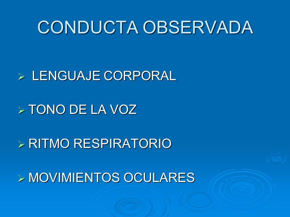 CONDUCTA OBSERVADA LENGUAJE CORPORAL LENGUAJE CORPORAL TONO DE LA VOZ TONO DE LA VOZ RITMO RESPIRATORIO RITMO RESPIRATORIO MOVIMIENTOS OCULARES MOVIMI