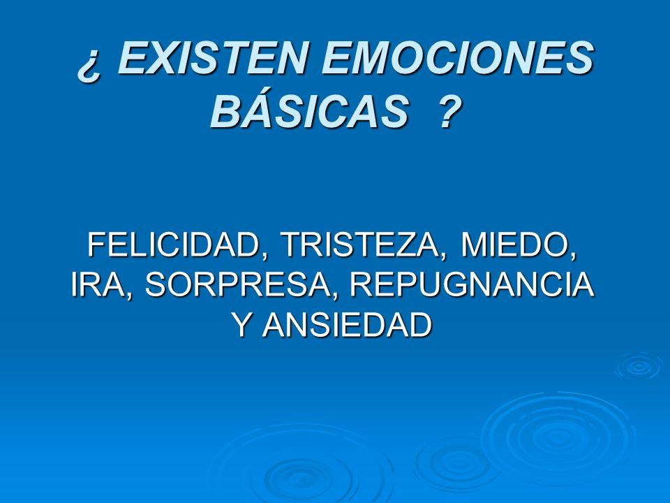 ¿ EXISTEN EMOCIONES BÁSICAS ? FELICIDAD, TRISTEZA, MIEDO, IRA, SORPRESA, REPUGNANCIA Y ANSIEDAD