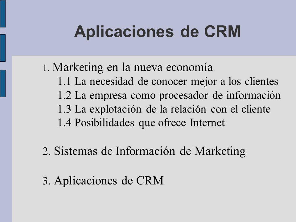1. Marketing en la nueva economía 1.1 La necesidad de conocer mejor a los clientes 1.2 La empresa como procesador de información 1.3 La explotación de