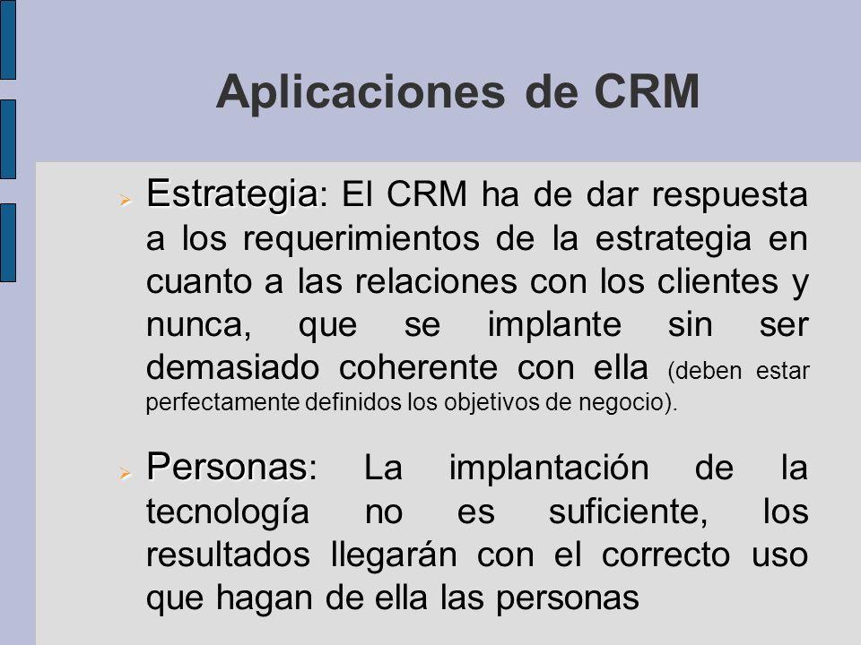 Aplicaciones de CRM Estrategia Estrategia : El CRM ha de dar respuesta a los requerimientos de la estrategia en cuanto a las relaciones con los clientes y nunca, que se implante sin ser demasiado coherente con ella (deben estar perfectamente definidos los objetivos de negocio).