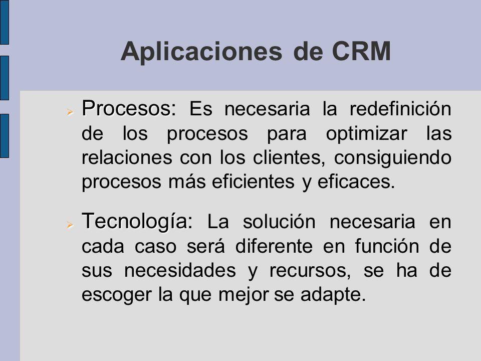 Aplicaciones de CRM Procesos Procesos: Es necesaria la redefinición de los procesos para optimizar las relaciones con los clientes, consiguiendo procesos más eficientes y eficaces.