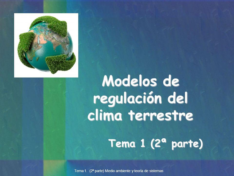 Tema 1 (2ª parte) Modelos de regulación del clima terrestre Tema 1. (2ª parte) Medio ambiente y teoría de sistemas
