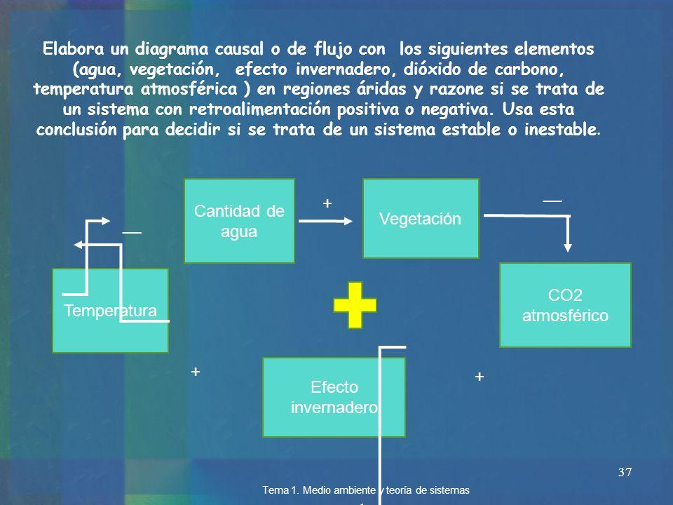 37 Elabora un diagrama causal o de flujo con los siguientes elementos (agua, vegetación, efecto invernadero, dióxido de carbono, temperatura atmosféri