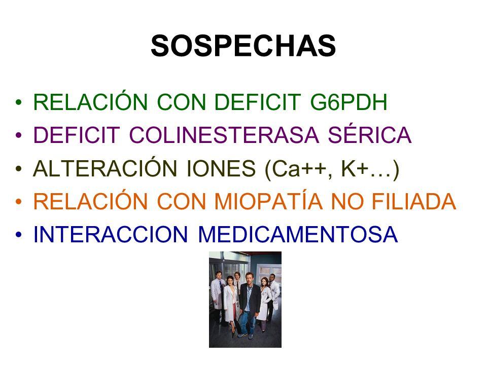 SOSPECHAS RELACIÓN CON DEFICIT G6PDH DEFICIT COLINESTERASA SÉRICA ALTERACIÓN IONES (Ca++, K+…) RELACIÓN CON MIOPATÍA NO FILIADA INTERACCION MEDICAMENT