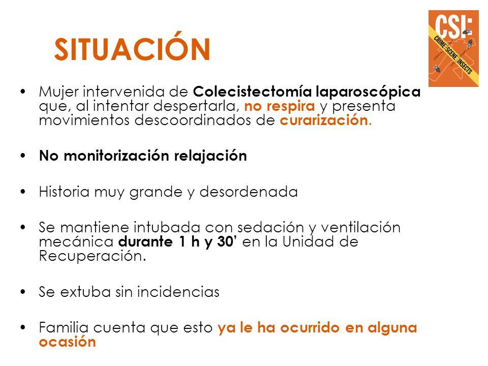 + + + SOSPECHAS RELACIÓN CON DEFICIT G6PDH DEFICIT COLINESTERASA SÉRICA ALTERACIÓN IONES (Ca++, K+…) RELACIÓN CON MIOPATÍA NO FILIADA INTERACCION MEDICAMENTOSA