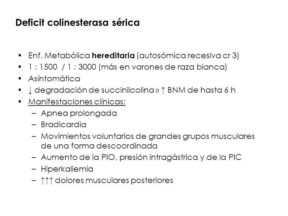 Enf. Metabólica hereditaria (autosómica recesiva cr 3) 1 : 1500 / 1 : 3000 (más en varones de raza blanca) Asíntomática degradación de succinilcolina
