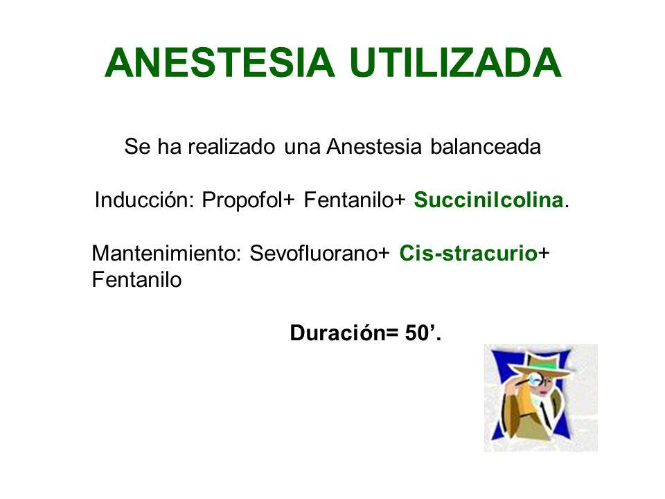 ANESTESIA UTILIZADA Se ha realizado una Anestesia balanceada Inducción: Propofol+ Fentanilo+ Succinilcolina. Mantenimiento: Sevofluorano+ Cis-stracuri