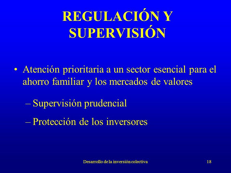 Desarrollo de la inversión colectiva18 REGULACIÓN Y SUPERVISIÓN Atención prioritaria a un sector esencial para el ahorro familiar y los mercados de valores –Supervisión prudencial –Protección de los inversores
