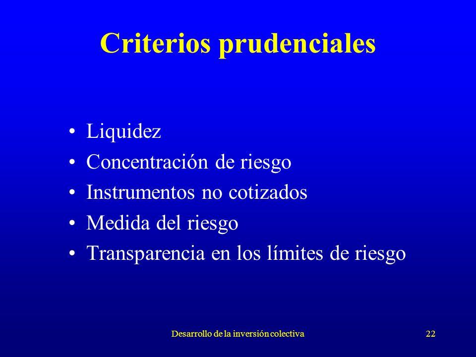 Desarrollo de la inversión colectiva22 Criterios prudenciales Liquidez Concentración de riesgo Instrumentos no cotizados Medida del riesgo Transparencia en los límites de riesgo