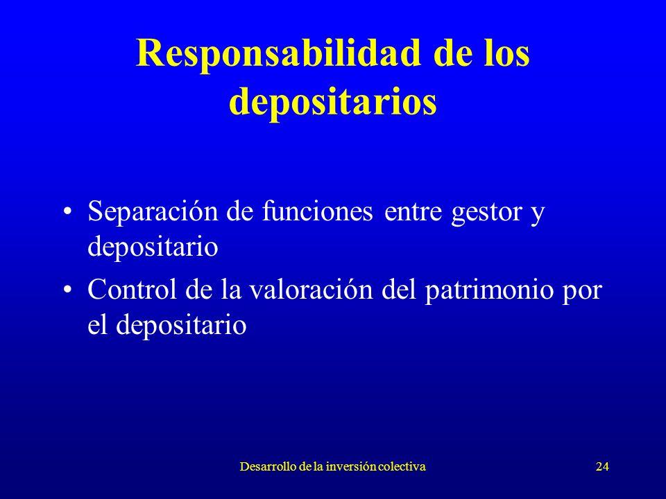 Desarrollo de la inversión colectiva24 Responsabilidad de los depositarios Separación de funciones entre gestor y depositario Control de la valoración del patrimonio por el depositario
