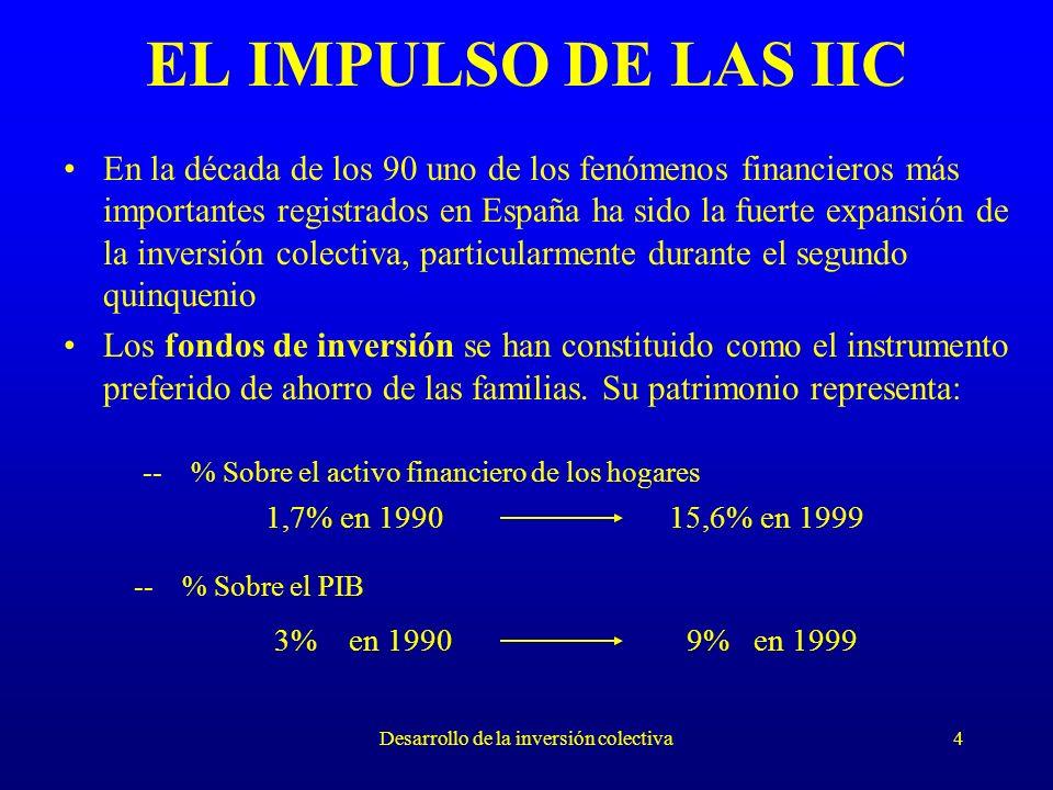 Desarrollo de la inversión colectiva4 EL IMPULSO DE LAS IIC En la década de los 90 uno de los fenómenos financieros más importantes registrados en España ha sido la fuerte expansión de la inversión colectiva, particularmente durante el segundo quinquenio Los fondos de inversión se han constituido como el instrumento preferido de ahorro de las familias.