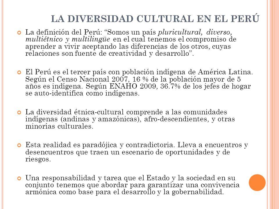 LAS RELACIONES DE GÉNERO E INTERCULTURALIDAD En nuestro país, los pueblos y culturas andinas, amazónicas, afro peruanas y otras minorías culturales, se han desarrollado en el marco de un sistema patriarcal que establece relaciones de subordinación, cuando no de sumisión y exclusión de las mujeres respecto de los varones.
