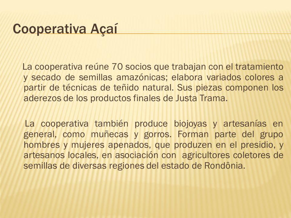 Cooperativa Açaí La cooperativa reúne 70 socios que trabajan con el tratamiento y secado de semillas amazónicas; elabora variados colores a partir de