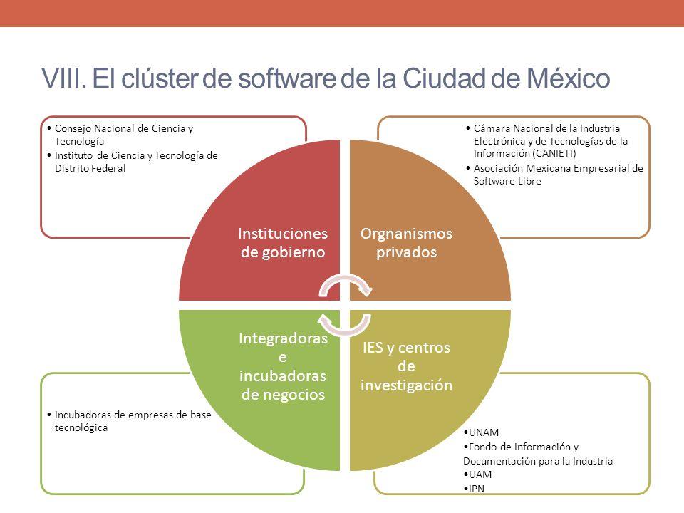 VIII. El clúster de software de la Ciudad de México UNAM Fondo de Información y Documentación para la Industria UAM IPN Incubadoras de empresas de bas
