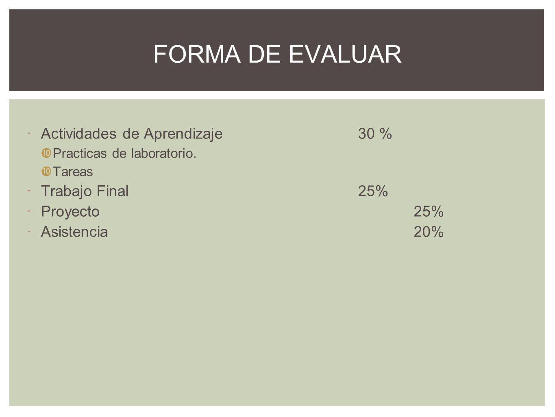FORMA DE EVALUAR Actividades de Aprendizaje30 % Practicas de laboratorio. Tareas Trabajo Final25% Proyecto25% Asistencia20%