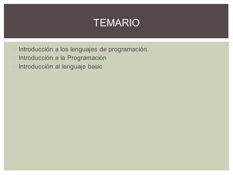 Algoritmos y programas Tipos y clasificación de lenguajes de programación Paquetes de aplicación especifica Desarrollo de programas vs paquetes de aplicación INTRODUCCIÓN A LOS LENGUAJES DE PROGRAMACIÓN